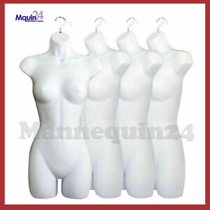 A Lot Of 4 White Mannequin Female Dress Forms Women s Plastic Hanging Torsos
