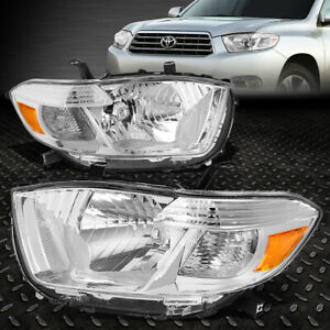 For 08 10 Toyota Highlander Chrome Housing Amber Corner Headlight Head Lamps