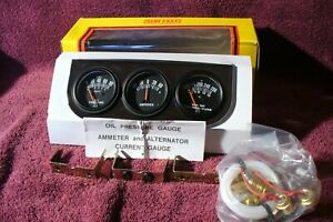 Lighted Triple Gauge Dash Set 50s Vtg Style Oil Temp Amp Hot Ratrod Accessory 5