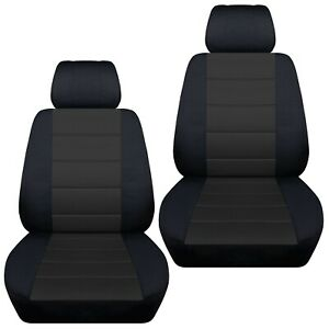 Front Set Car Seat Covers Fits Toyota Tundra 2007 2020 Black And Charcoal