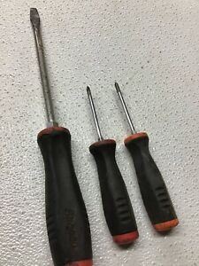 Snap on 3 Pc Black Red Rubber Handle Long Flat Phillips Screwdrivers B1