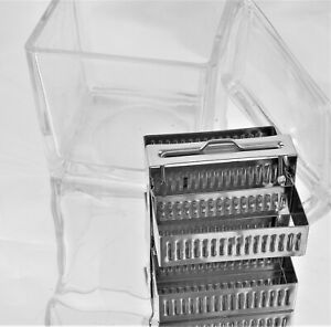 Lab Glass Slide Staining Jar Dish W Stainless Dry Storage Rack Lid 30 Position