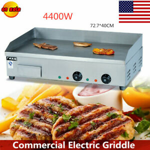 Electric Plate Countertop Griddle Flat Commerical Grill Bbq Stainlesssteel 4400w