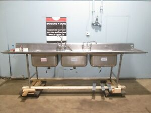 advance Heavy Duty Commercial nsf Ss 126 l 3 Compartments Sink W 2 Faucets