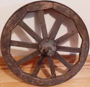 Antique Wooden Wheel Barrel Or Cart Wheel With Steel Band 17 Wide
