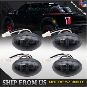 4pcs Smoked Dually Bed Fender Side Marker 3led Lights Amber For Ford F350 F450