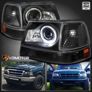 For 1998 2000 Ford Ranger Black Halo Projector Headlights corner Signal Lamps