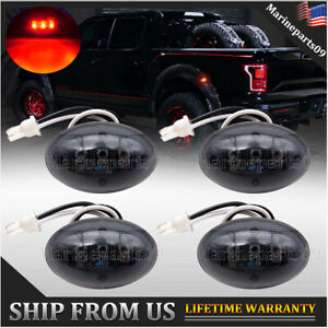 4pcs Dually Bed Fender Side Marker Led Lights Smoked For Ford F350 F450 F550 Red