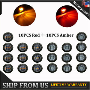 20x Smoked 3 4 Round Truck Boat Trailer Red Amber Led Light Side Marker Lights