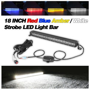 18 Strobe Led Light Bar Flash Driving Warn Lights Amber red blue Off Road 20in