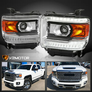 For 2014 2018 Gmc Sierra 1500 Projector Headlights W Led Drl Daytime Lights