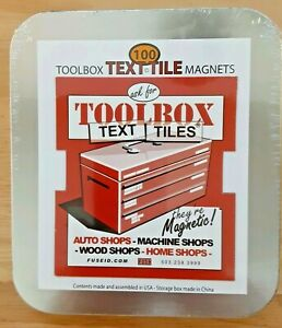 New Sealed Text Tile 100 Magnet Labels For Toolbox Drawers Reusable Tins
