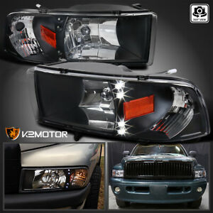 For 1994 2001 Dodge Ram 1500 2500 3500 Led Drl Black Headlights Lamps Left right
