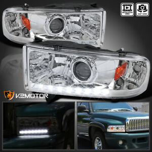 For 1994 2001 Dodge Ram 1500 2500 3500 Clear Led Projector Headlights Led Strip