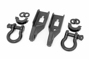 Rough Country Tow Hook Shackle Kit Fits 2009 2020 Ford F150 2 Black D Rings