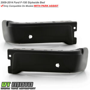 2009 2014 Ford F150 Styleside Black Rear Bumper Face Bar End Caps W sensor Hold