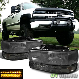Smoked 99 02 Silverado 00 06 Tahoe Suburban Headlights full Led Bumper Lamps