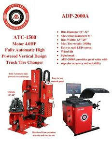 4 0 Hp Truck Tire Changer Fully Automatic 14 42 W Truck Wheel Balancer Combo