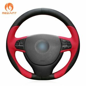 Black Red Leather Car Steering Wheel Cover For Bmw F10 F07 2009 2017 F11 Bm21