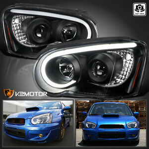 For 2004 2005 Subaru Impreza Wrx Led Drl Black Projector Headlights Left Right