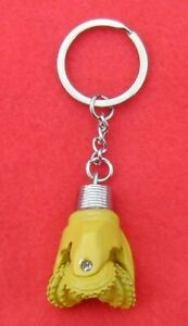Oilfield Tricone Rock Bit Key Chain Key Ring Jewelry Roughneck Oil Rig Yellow