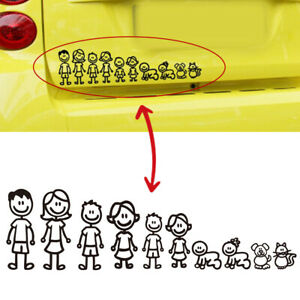 1x Cute Family Member Car Stickers Window Door Body Vinyl Waterproof Decal Trim