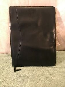 Scully Black Leather Portfolio Planner Expandable Good Condition