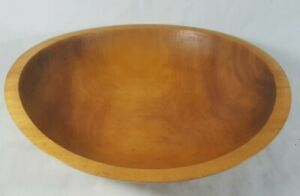Vintage Antique Hand Turned Honey Maple Wood Dough Bowl Beautiful 11 5 Wide