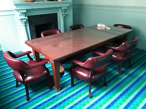 Executive Wooden And Glass Top Conference Table 6 Chairs For Sale 1500 Obo