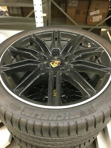 Porsche Cayenne 958 Sport Edition Oem Gross Black 21 Wheels tires tpms caps Set