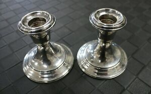 Vintage Pair Sterling Silver Gorham Weighted Candlesticks 948 No Damage