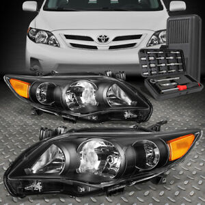 For 11 13 Toyota Corolla Sedan Black Amber Corner Headlight Head Lamp tool Set