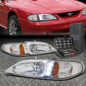 For 94 98 Ford Mustang 1pc Led Drl Chrome Amber Corner Headlight Lamps Tool Set