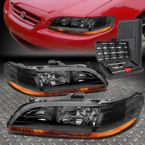 For 98 02 Honda Accord Black Housing Amber Side Headlight Head Lamps Tool Set