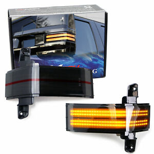 Dual Row Amber Led Strip Tow Mirror Marker Light For Chevy Silverado Gmc Sierra