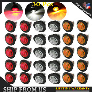 30x 3 4 Side Marker Lights Led For Truck Boat Red amber white Clearence Ligth