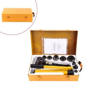10t Hydraulic Knockout Punch Hand Pump 6 Dies Hole Tool Driver Kit W metal Case