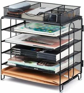 5 Trays Desk Document File Tray Organizer With Supplies Sliding Drawer For Home