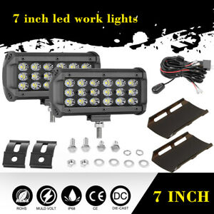 2x7in 360w Tri row Led Work Lights Spot Flood Combo Beam With Wiring Harness Kit
