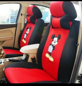 18pcs Cartoon Mickey Mouse Universal Car Seat Cover Plush Seat Covers Car Covers