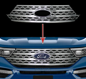 Fits Ford Explorer 2020 21 Snap On Chrome Grille Overlay Full Front Grill Covers