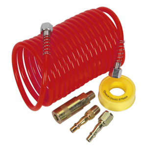 Sealey Air Hose Kit 5m X 5mm Pu Coiled With Connectors