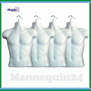 4 Pack Mannequin Torsos White Male Body Forms Hollow Back Hanging Dress Forms
