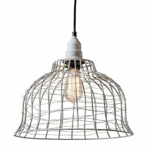 Industrial Cage Pendant Light In Weathered Zinc Tin