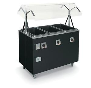 Vollrath T38709 3 Well Hot Food Steam Table Mobile Black W Storage
