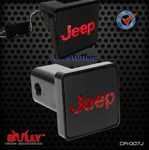 Bully Hitch Brake Light Jeep Back Lit Logo 2 Inch Receiver Fits Four Prong Plug
