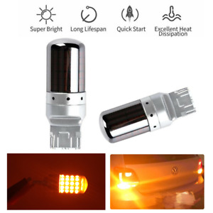 Bright Amber Chrome Housing 7440 T20 Amber Canbus Led Bulbs Turn Signal Lights