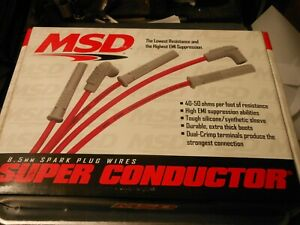 Msd Spark Plug Wire Set 35659 Super Conductor 8 5mm Red 90 Hei For Chevy Sbc