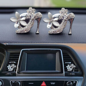 2 Pcs High Heel Crystal Shoe Bling Car Decor Car Air Vent Clip Decoration Charms