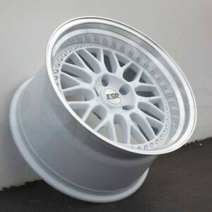 18 Inch Esr Sr01 White Deep Dish Wheels 18x10 5 5x114 3 22 Rims Set 4